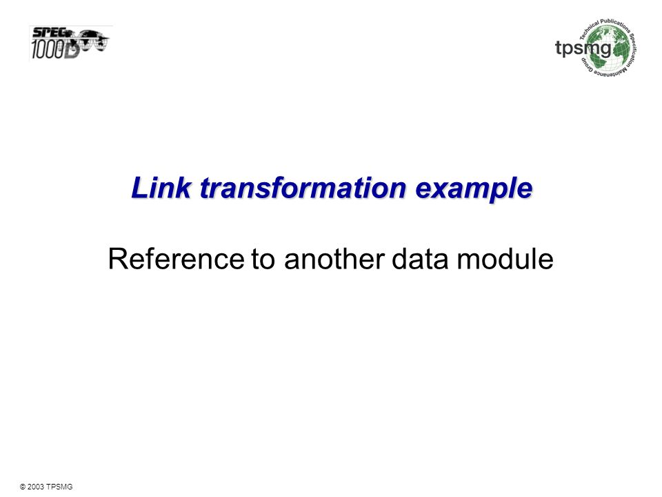 Link transformation example Reference to another data module