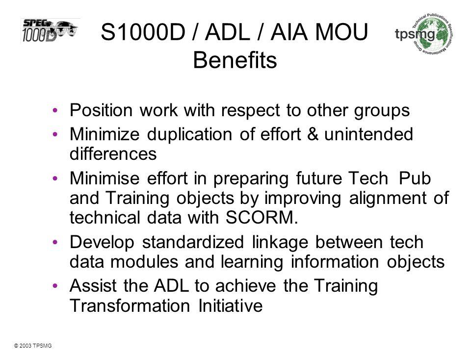 S1000D / ADL / AIA MOU Benefits