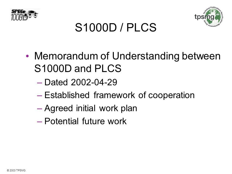 S1000D / PLCS Memorandum of Understanding between S1000D and PLCS