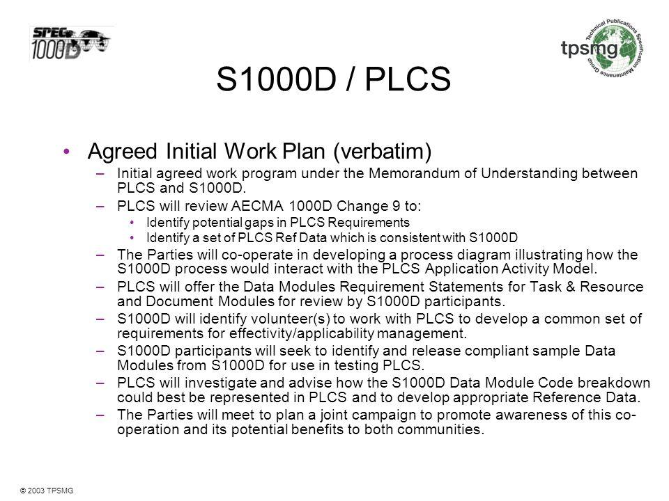 S1000D / PLCS Agreed Initial Work Plan (verbatim)
