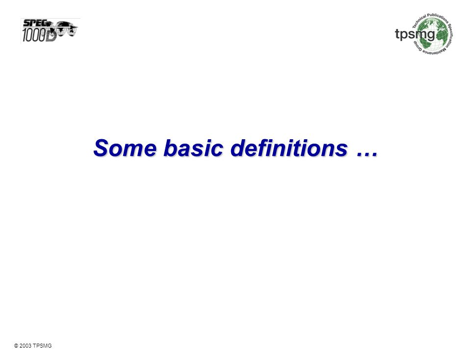 Some basic definitions …