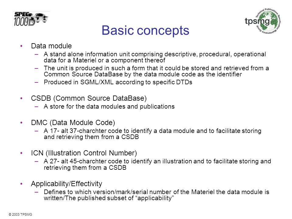 Basic concepts Data module CSDB (Common Source DataBase)