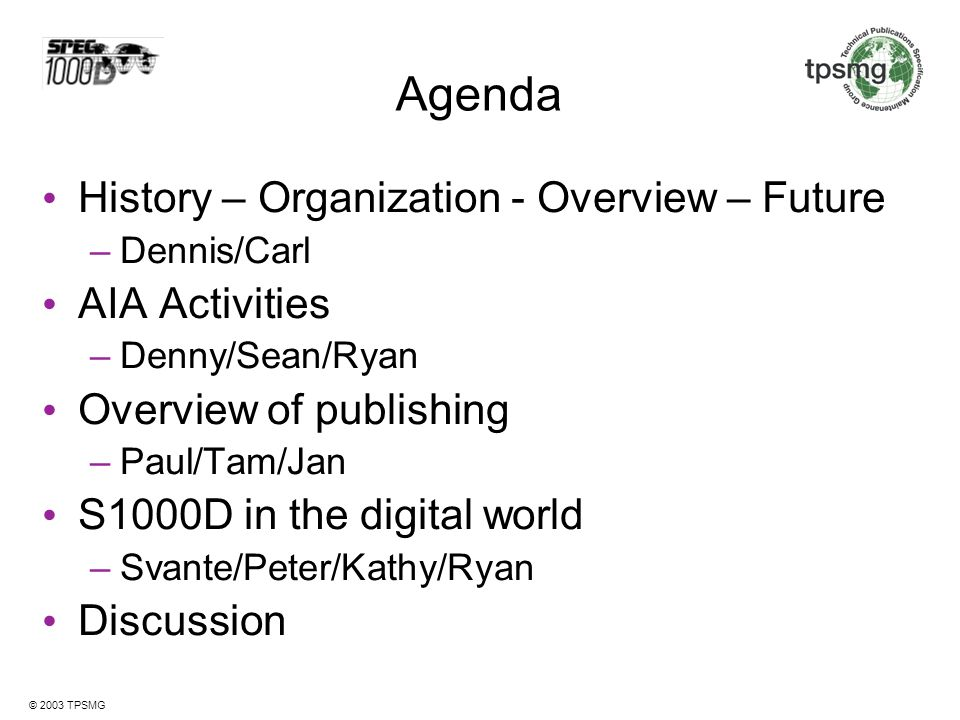 Agenda History – Organization - Overview – Future AIA Activities