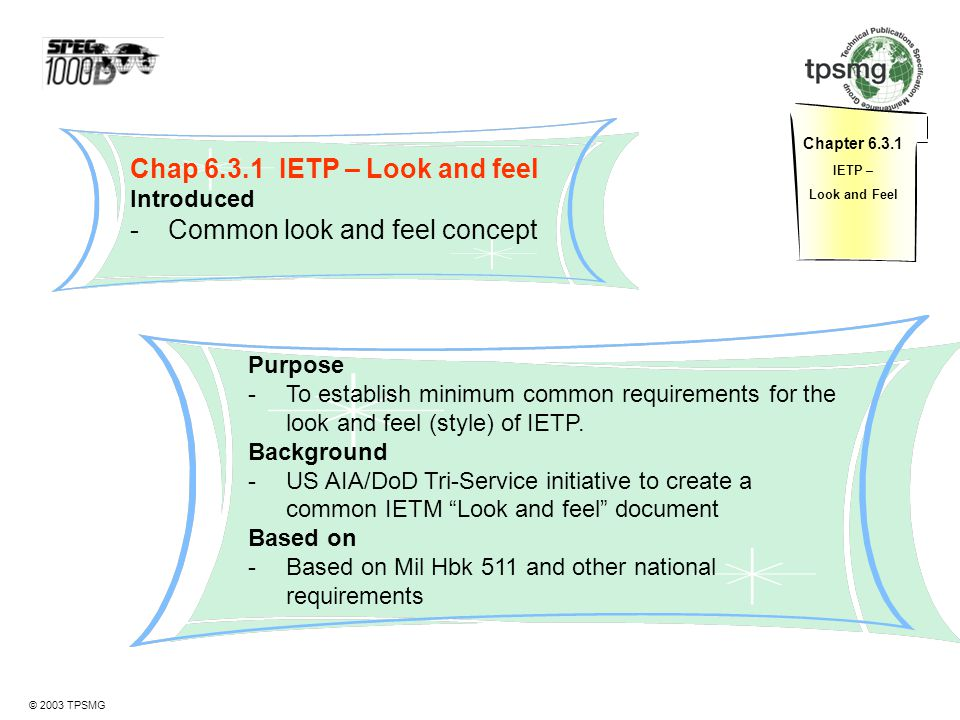Chap 6.3.1 IETP – Look and feel Common look and feel concept