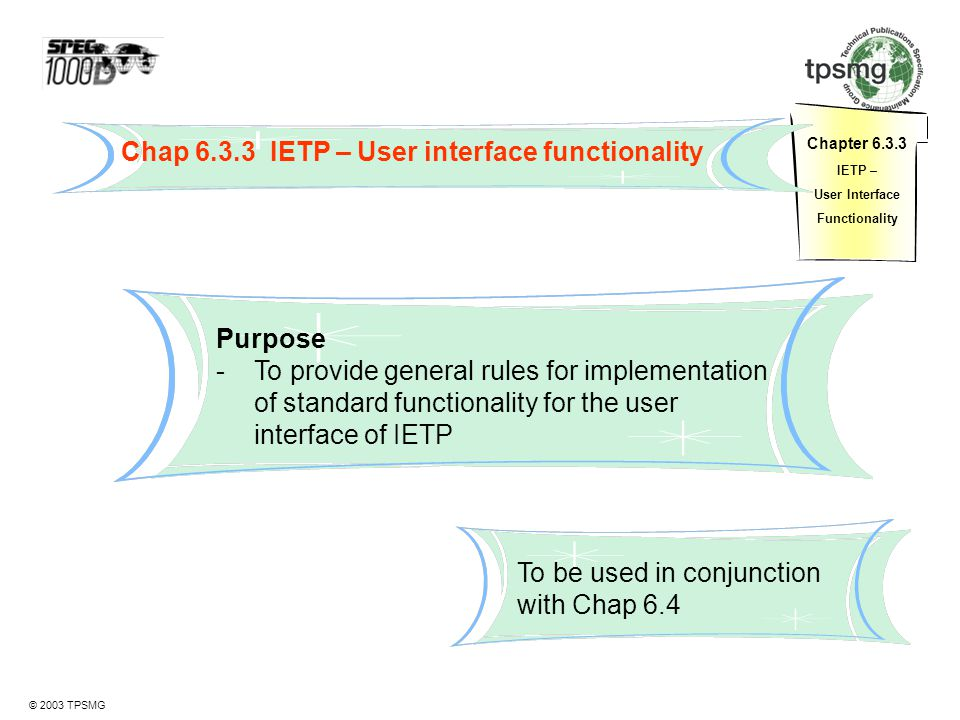 Chap 6.3.3 IETP – User interface functionality