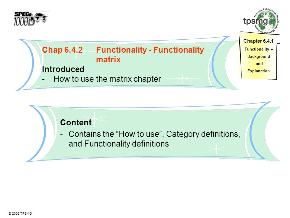 Chap 6.4.2 Functionality - Functionality matrix Introduced