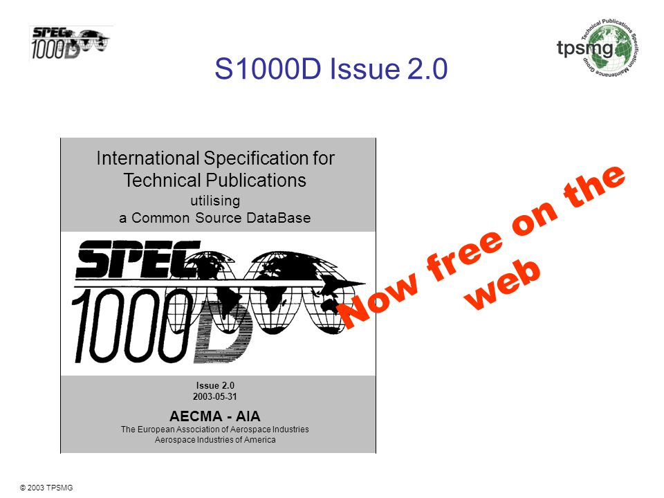 Now free on the web S1000D Issue 2.0