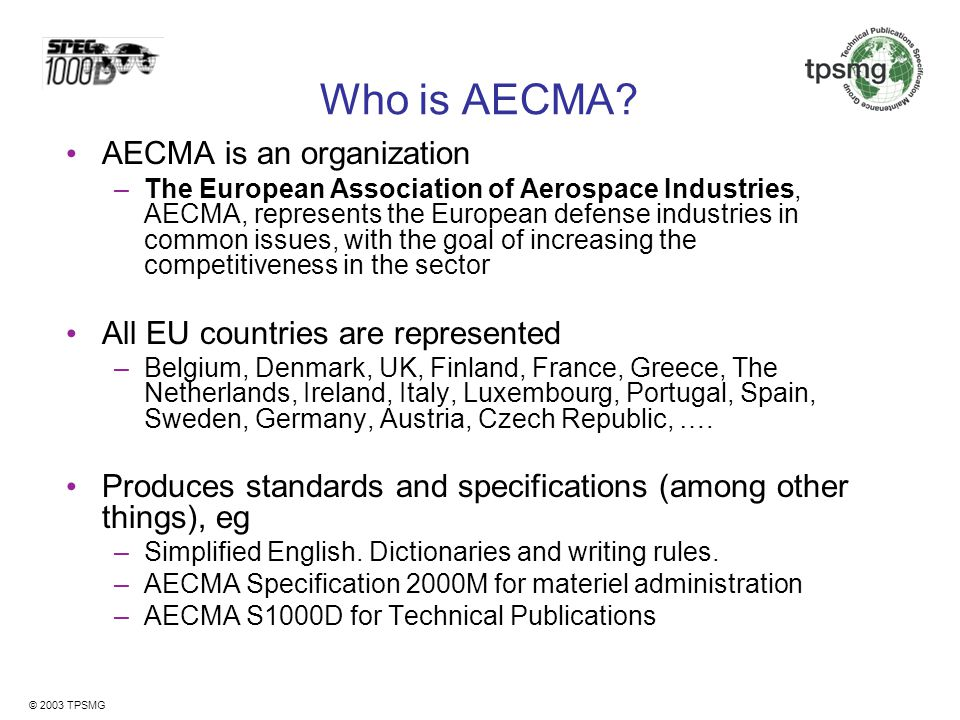 Who is AECMA AECMA is an organization
