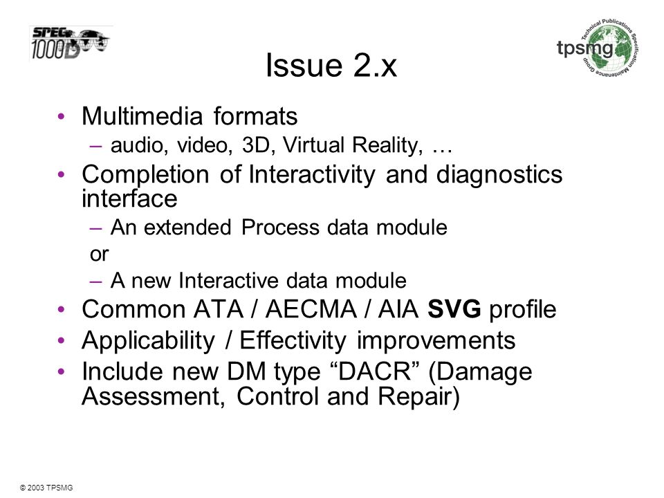 Issue 2.x Multimedia formats