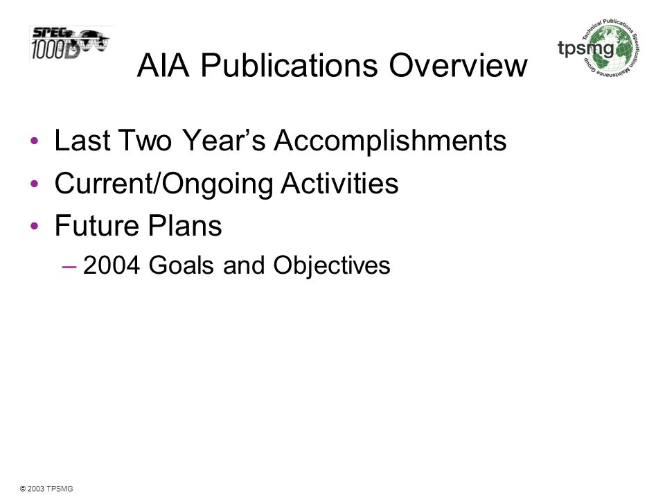 AIA Publications Overview