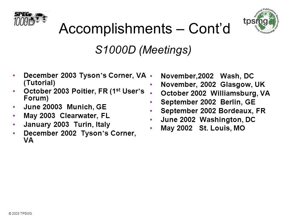 Accomplishments – Cont'd