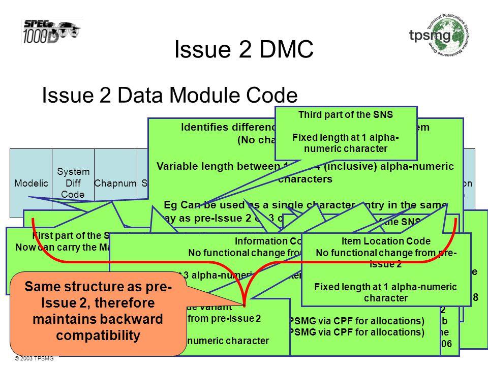 Issue 2 DMC Issue 2 Data Module Code