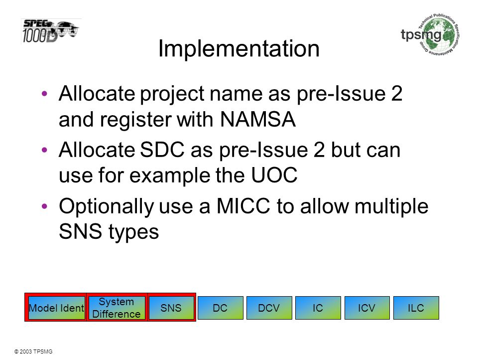 Implementation Allocate project name as pre-Issue 2 and register with NAMSA. Allocate SDC as pre-Issue 2 but can use for example the UOC.