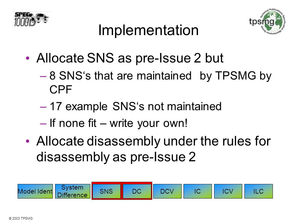 Implementation Allocate SNS as pre-Issue 2 but