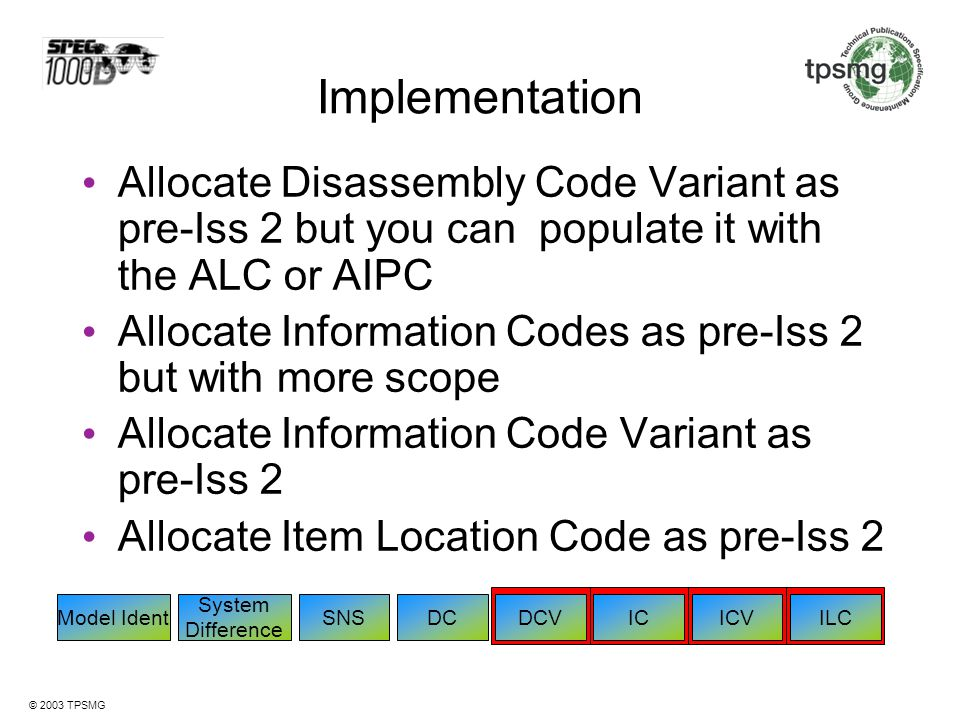 Implementation Allocate Disassembly Code Variant as pre-Iss 2 but you can populate it with the ALC or AIPC.