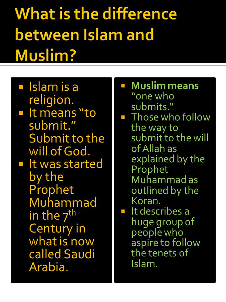 What is the difference between Islam and Muslim
