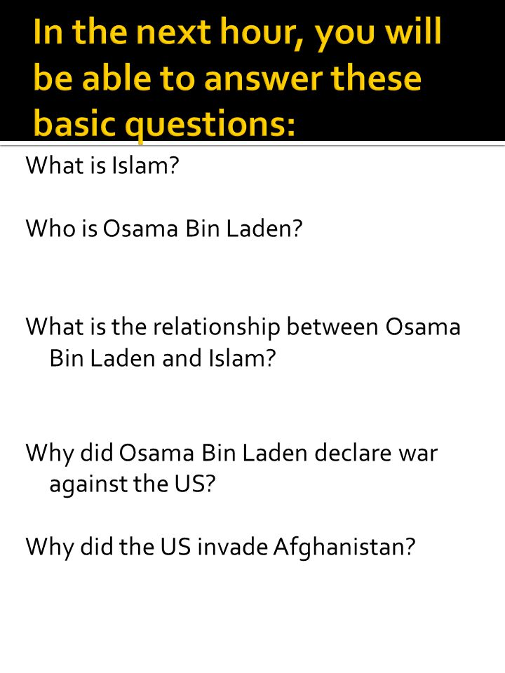 In the next hour, you will be able to answer these basic questions: