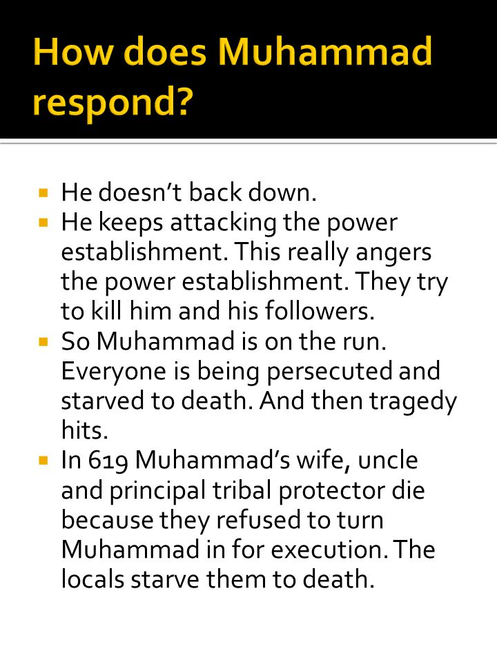 How does Muhammad respond