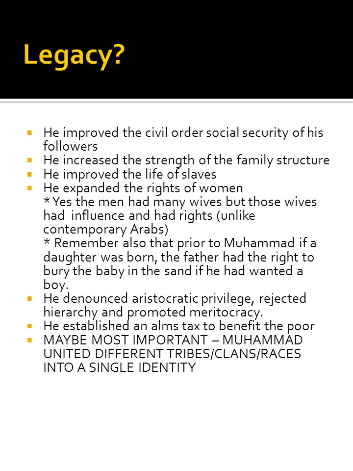 Legacy He improved the civil order social security of his followers
