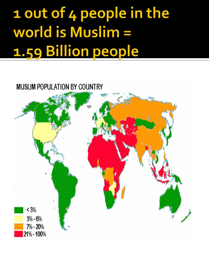 1 out of 4 people in the world is Muslim = 1.59 Billion people