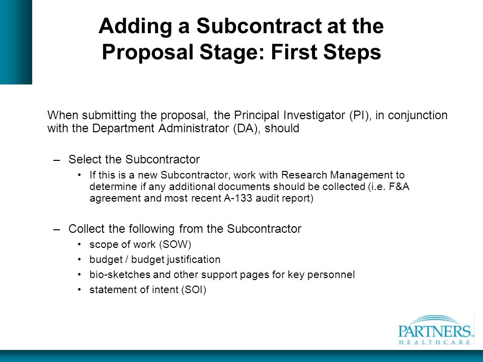 Adding a Subcontract at the Proposal Stage: First Steps