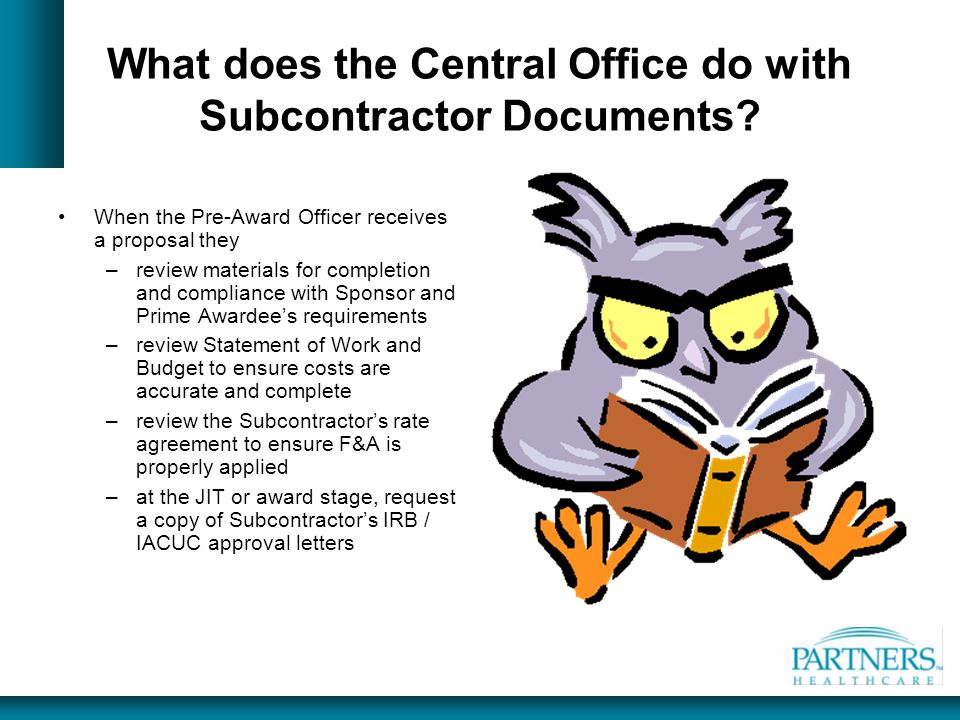 What does the Central Office do with Subcontractor Documents
