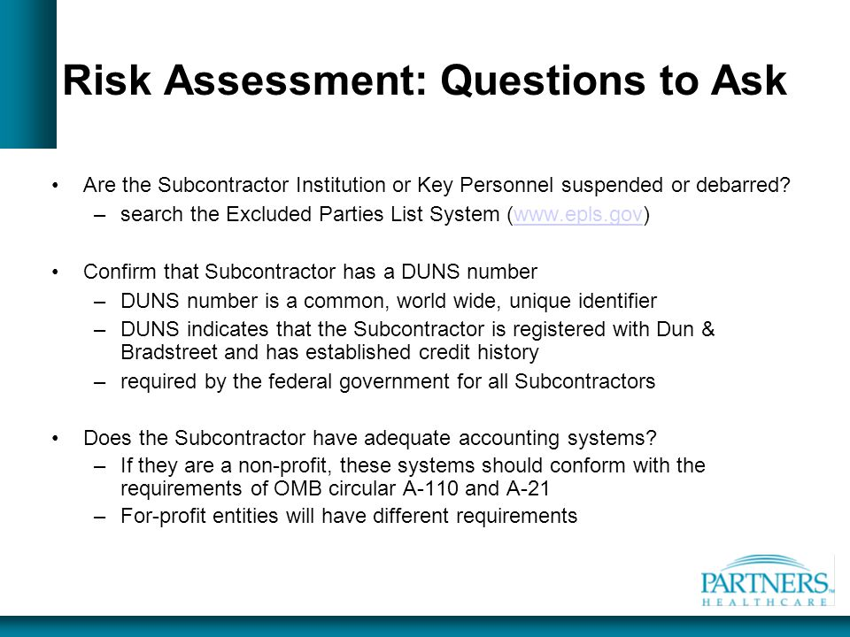 Risk Assessment: Questions to Ask