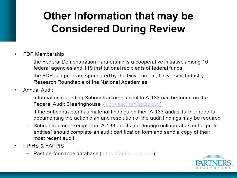 Other Information that may be Considered During Review