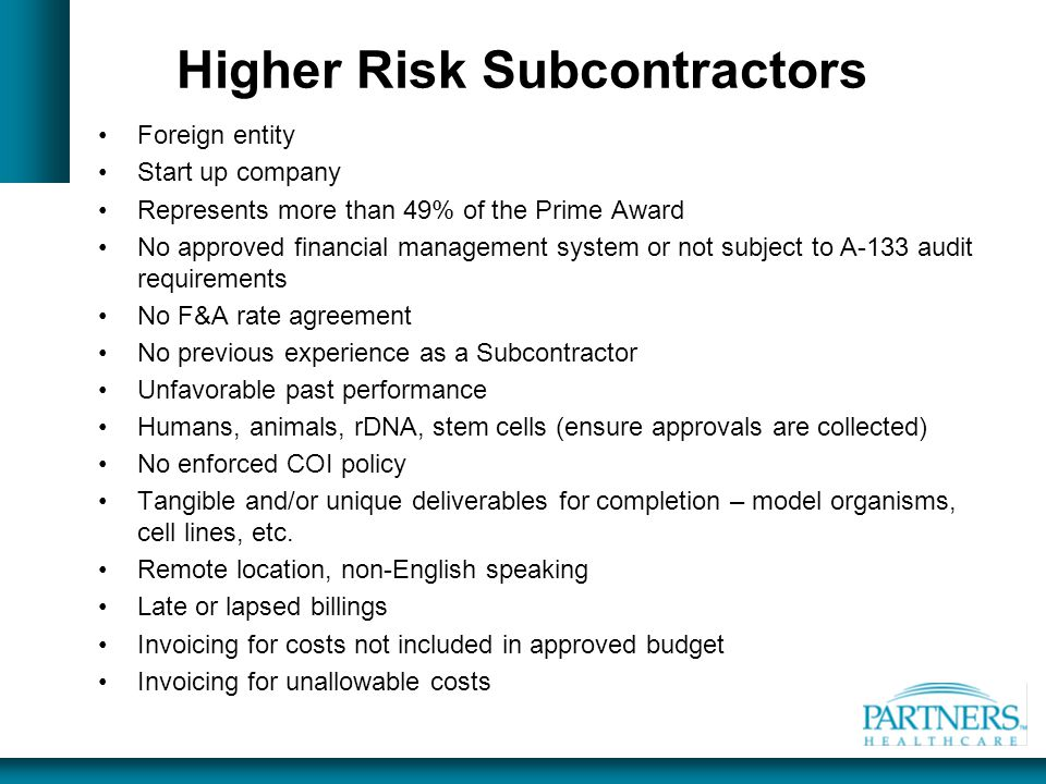 Higher Risk Subcontractors