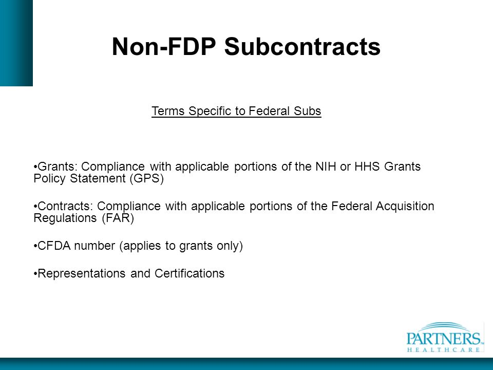 Terms Specific to Federal Subs