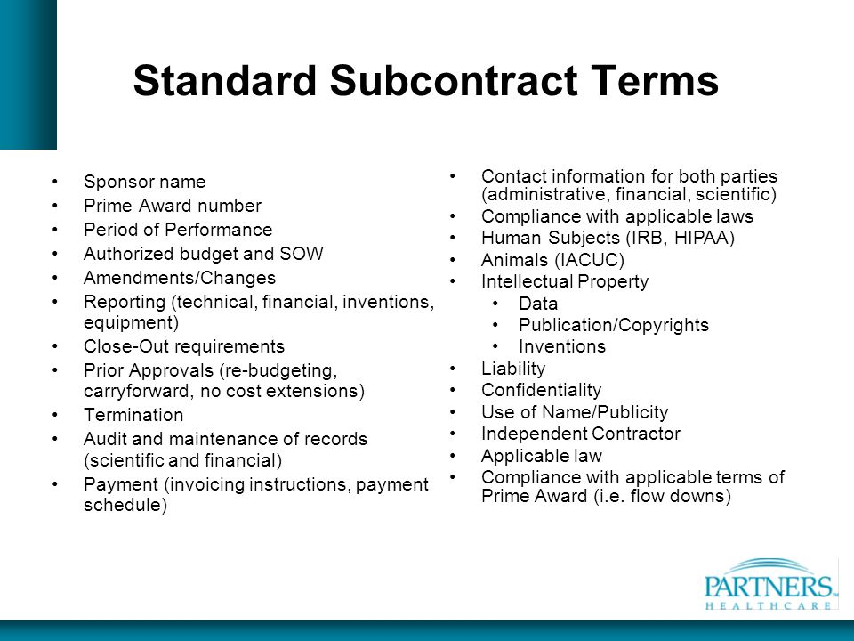 Standard Subcontract Terms