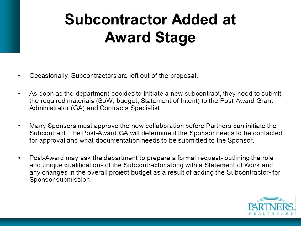 Subcontractor Added at Award Stage