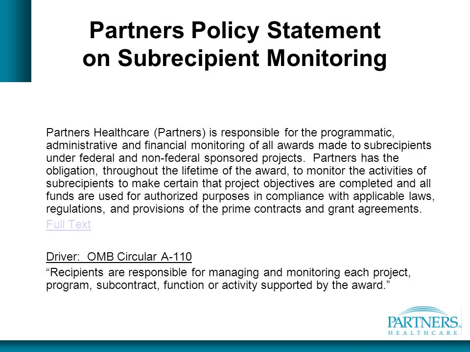 Partners Policy Statement on Subrecipient Monitoring