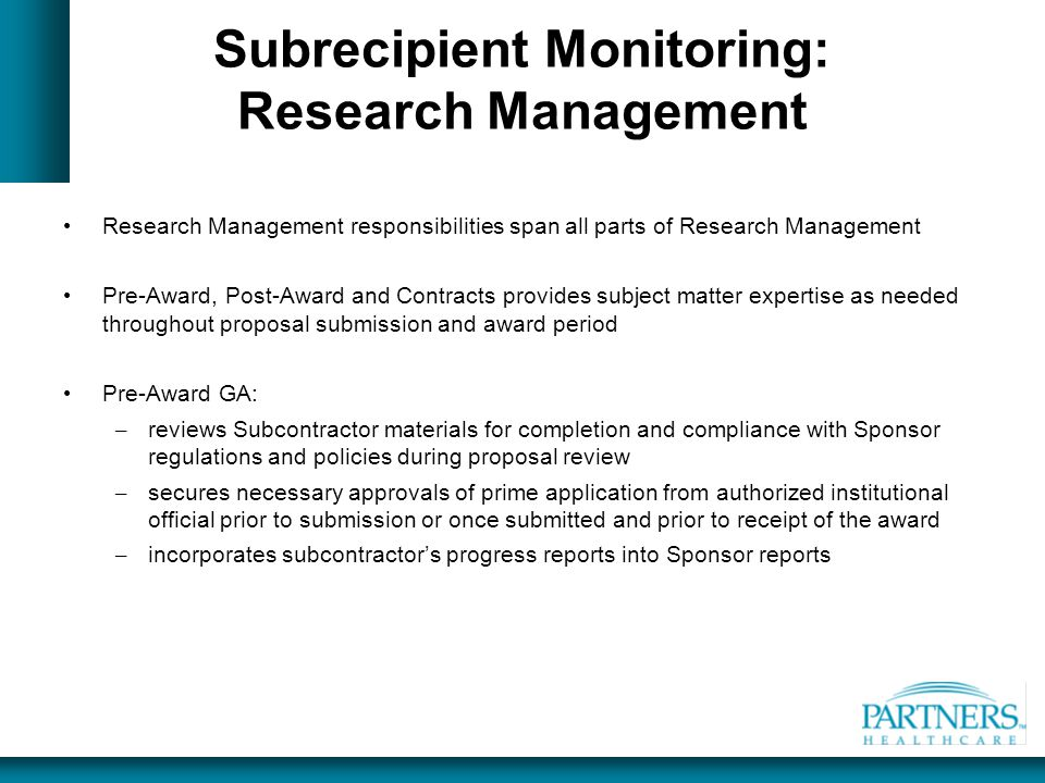 Subrecipient Monitoring: Research Management