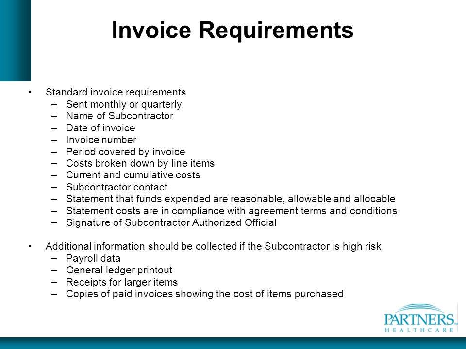 Invoice Requirements Standard invoice requirements