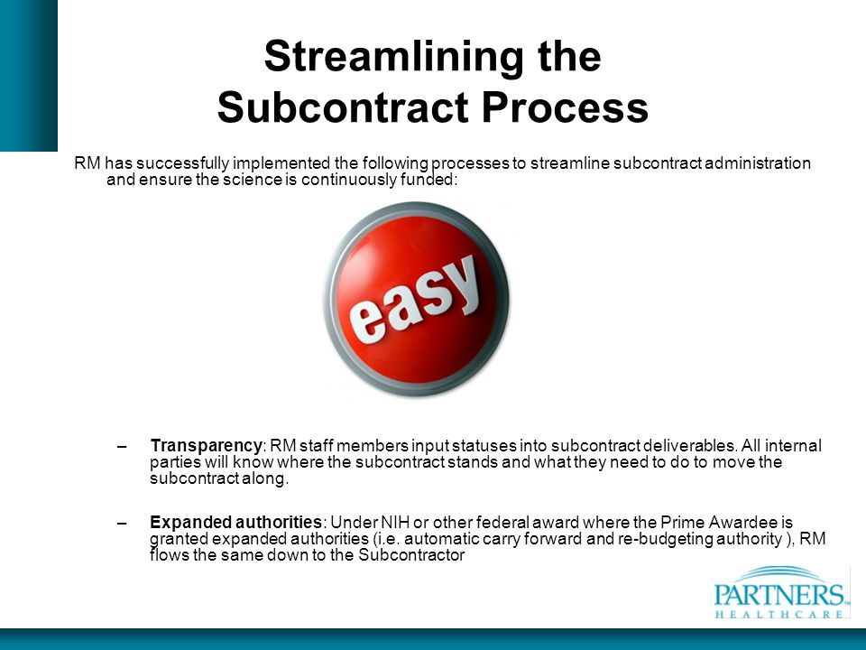 Streamlining the Subcontract Process