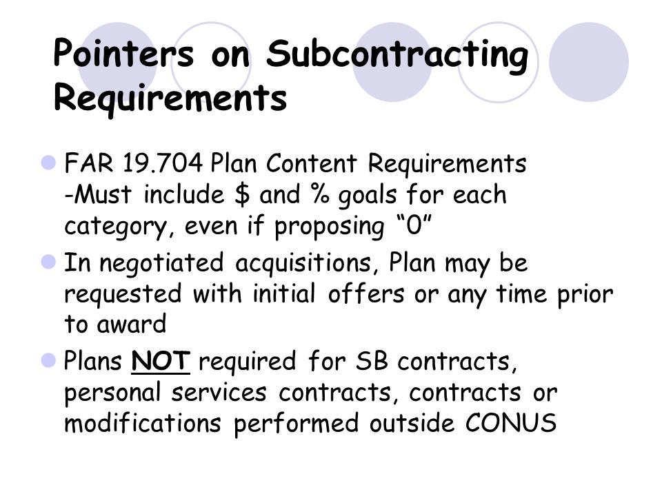 Pointers on Subcontracting Requirements
