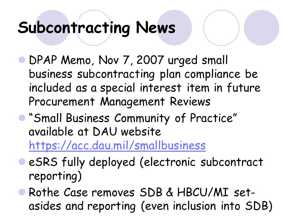 Subcontracting News