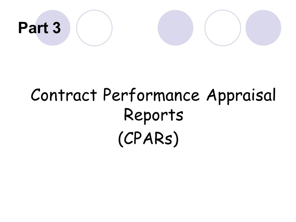 Contract Performance Appraisal Reports