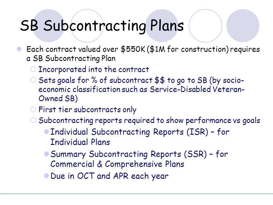 SB Subcontracting Plans