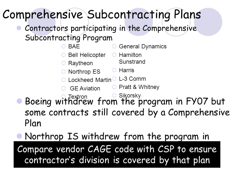 Comprehensive Subcontracting Plans