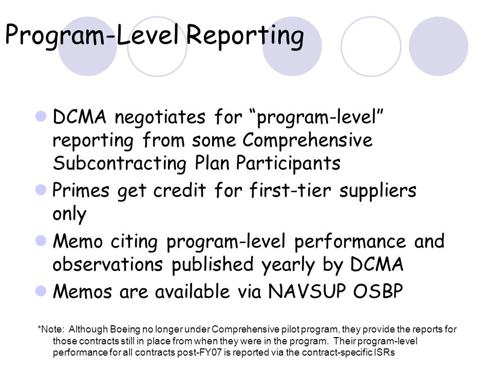 Program-Level Reporting