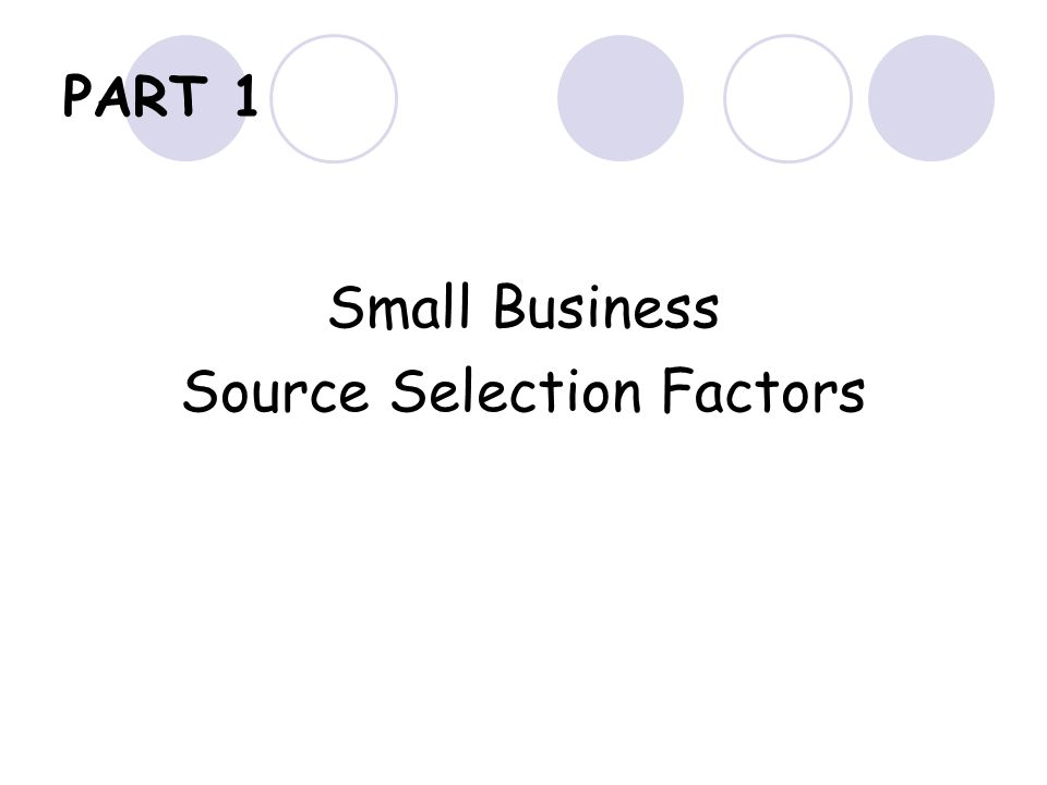 Source Selection Factors