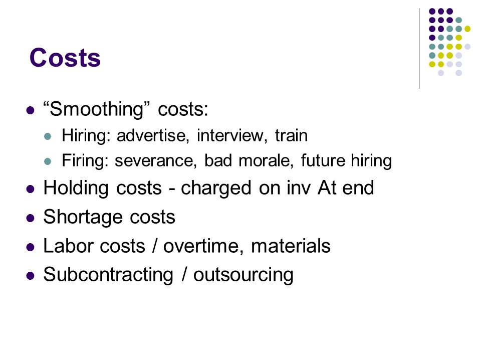 Costs Smoothing costs: Holding costs - charged on inv At end