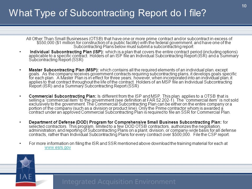 What Type of Subcontracting Report do I file