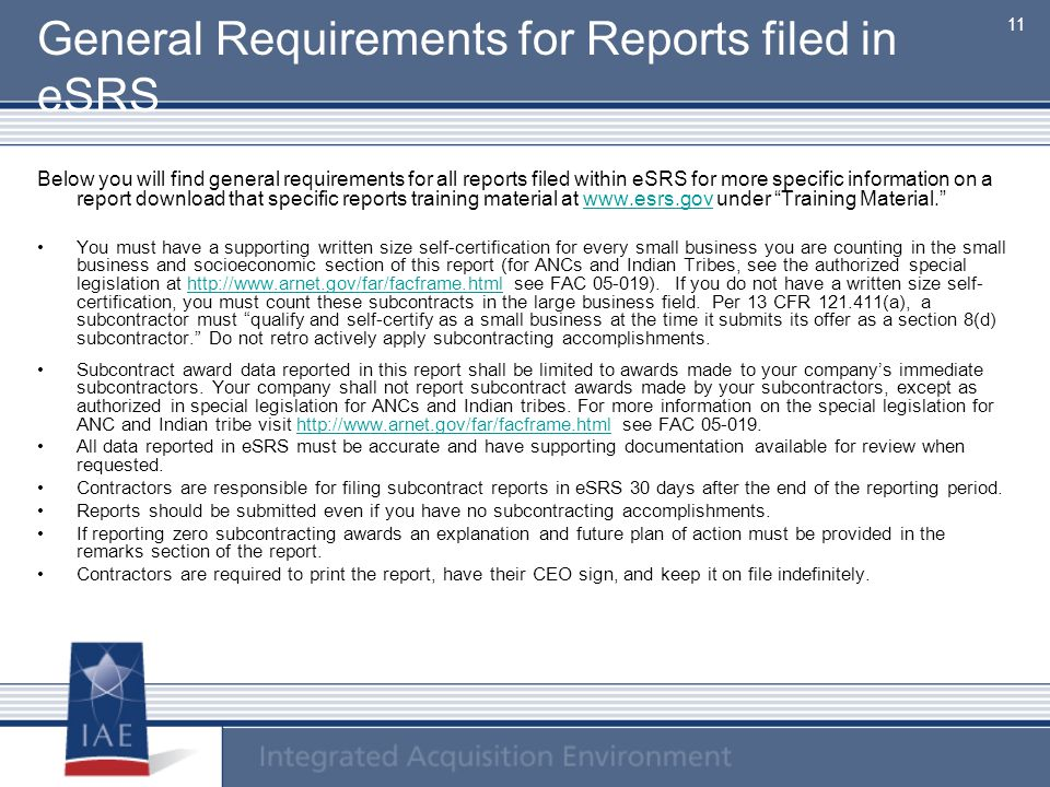 General Requirements for Reports filed in eSRS