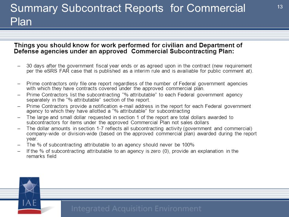 Summary Subcontract Reports for Commercial Plan