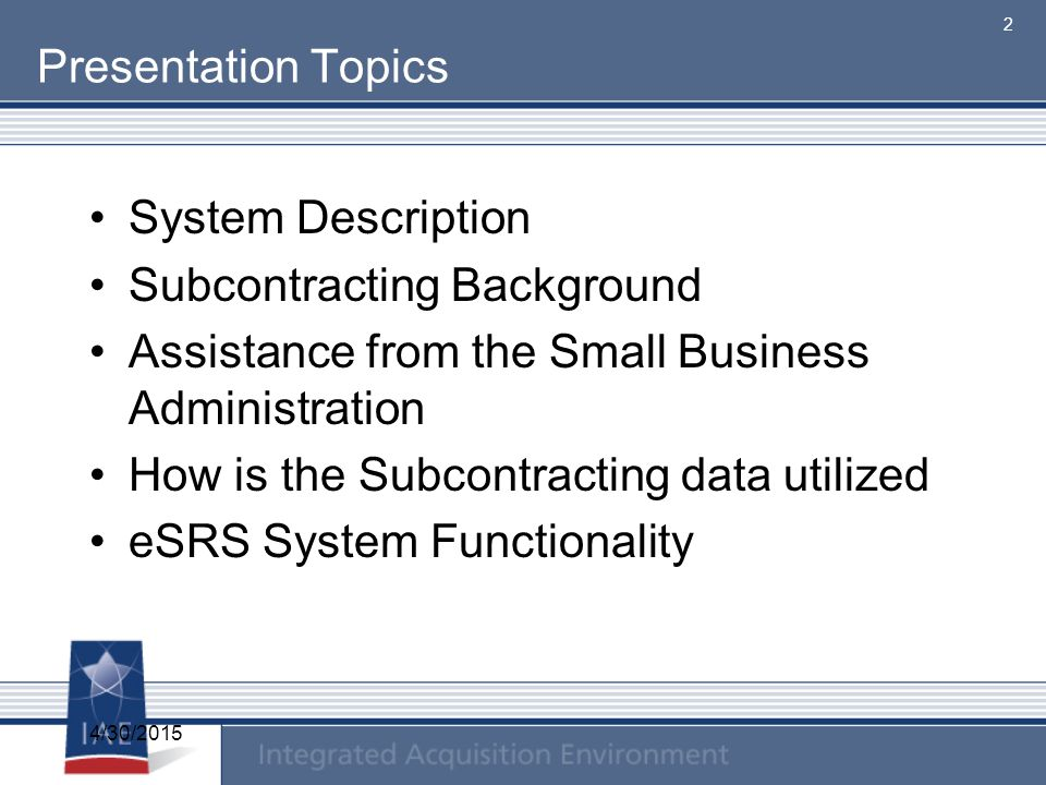 Subcontracting Background