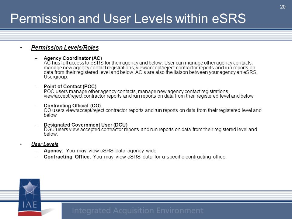 Permission and User Levels within eSRS