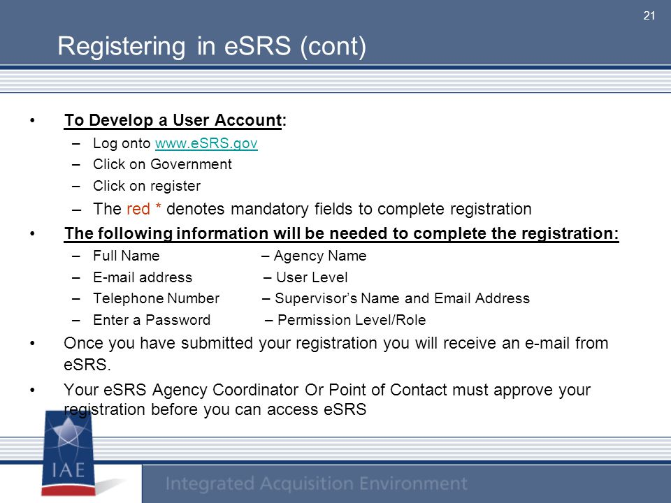 Registering in eSRS (cont)